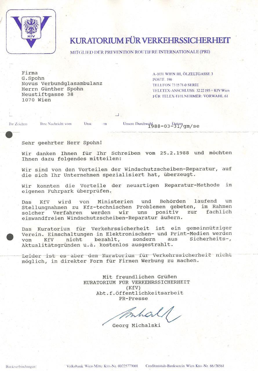KfV Brief 88 Referenzschreiben