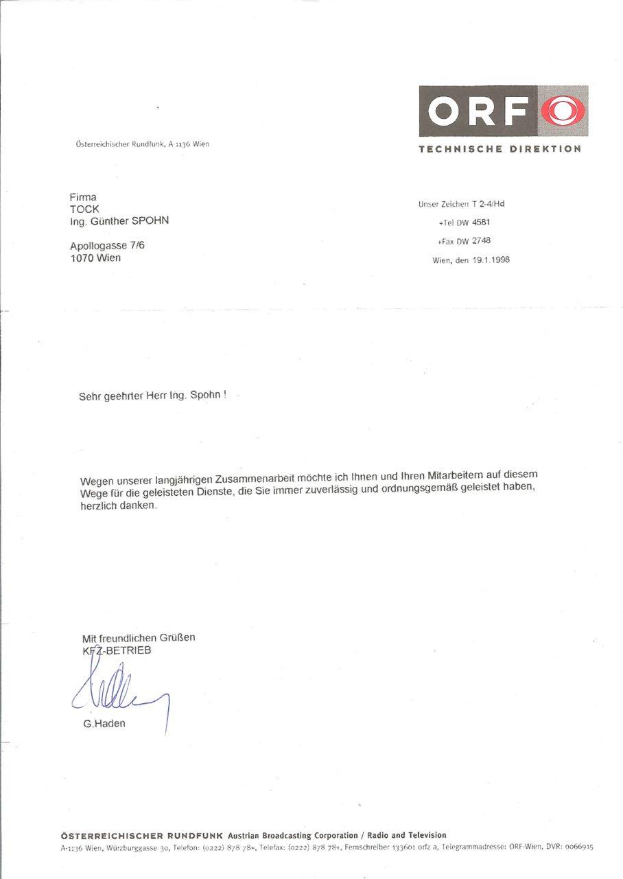 ORF Brief Referenz